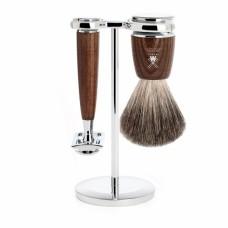 德國 MÜHLE RYTMO 刮鬍刀 三件組 (煙燻木)