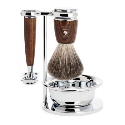 德國 MÜHLE RYTMO 刮鬍刀 四件組 (煙燻木)